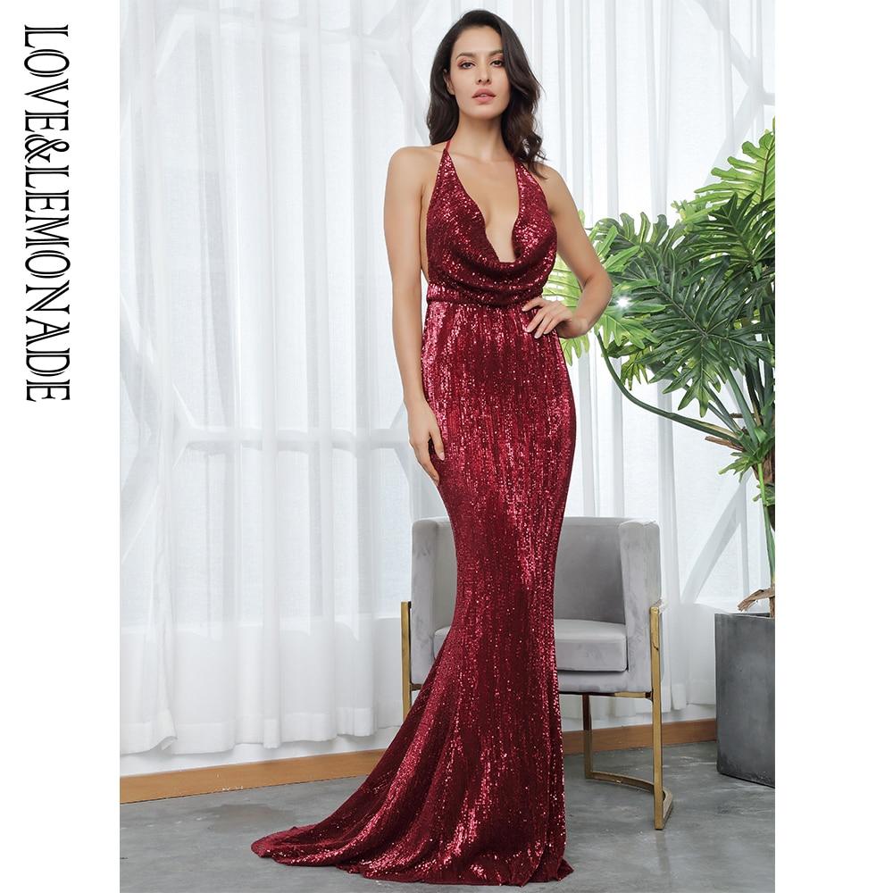 Love Lemonade V Neck Open Elastic Sequins Long Dress LM81462WINERED