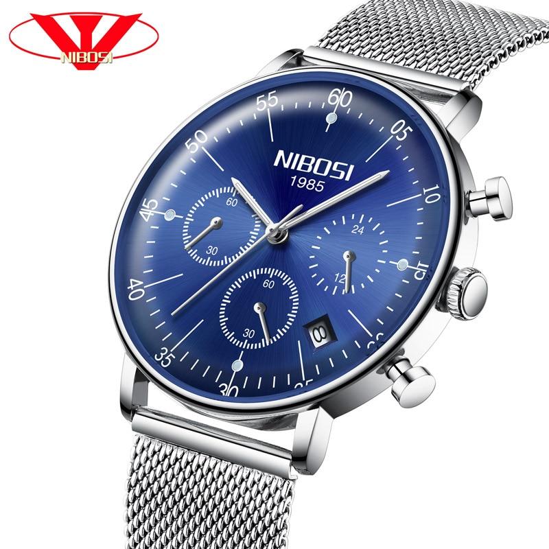 NIBOSI Men's Watches Luxury Fashion Casual Dress Waterproof Military Quartz Wristwatches Men Stainless Steel Band Silver Watch