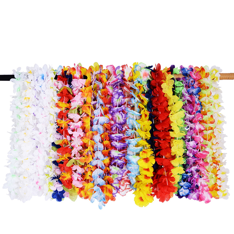 36 PCS Lot Hawaiian Artificial Flowers Leis Garland Necklace Fancy Dress Hawaii Beach Flowers Party Decoration Random Color 5 image