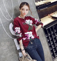 Europe 2016 Station Early Autumn Loose And Long Sleeve Knit Sweater Female Flowers