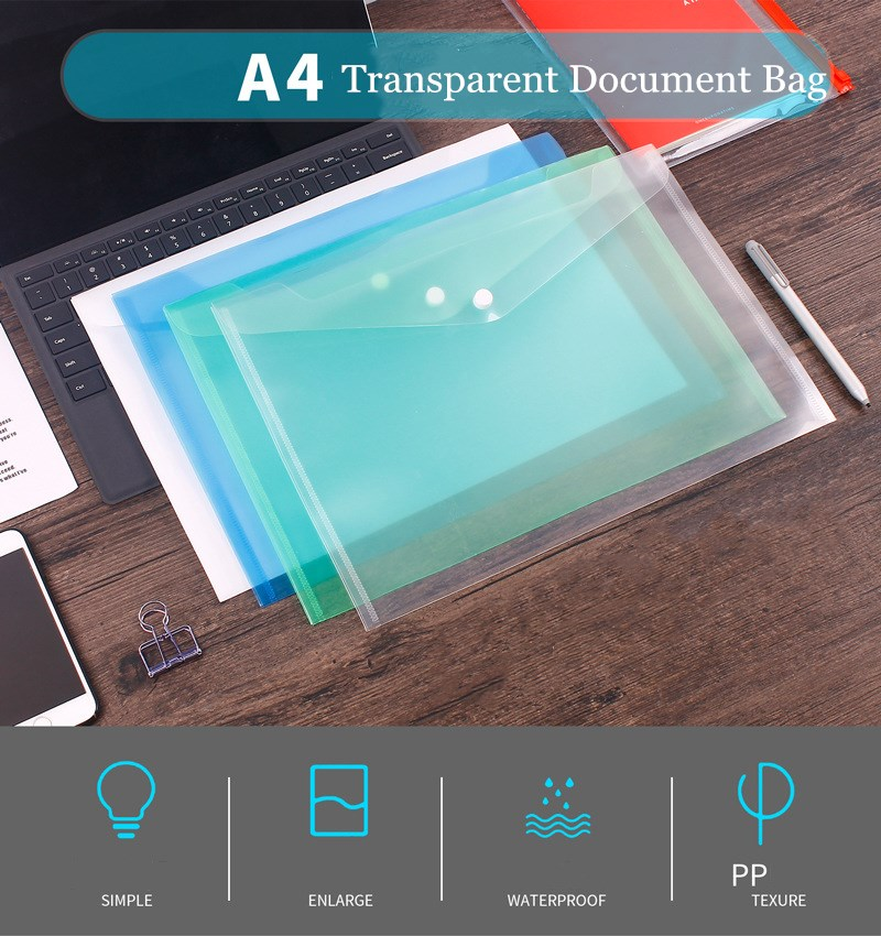 200PCS/Lot Great Transparent Plastic A4 Folders File Bag Document Hold Bags Folders Filing Paper Storage Office School Supplies