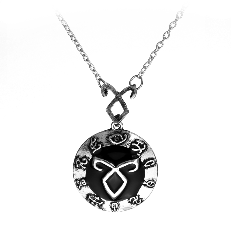 The Mortal Instruments City of Bones Angelic Power Rune Necklace Rune Combo Pendant Black Enamel Round Jewelry and Silver Plated