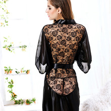MUPLY New Hot Sexy Lingerie Plus Size Satin Lace Black Kimono Intimate Sleepwear Robe Sexy Night Gown Women Erotic Underwear