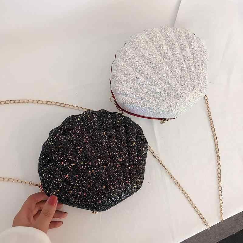 AIZHIYI Fashion Chain Sequined Shoulder Bag For Women Pu Leather Handbags Cute Shell Shape Purse Mini Summer Bag bolsa feminina