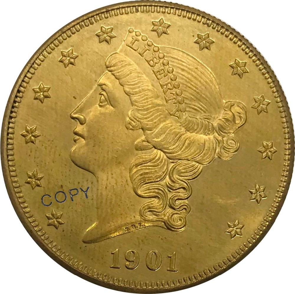 1901 Соединенные Штаты 20 20 долларов свободы голова двойной Орел с девизом Золотая монета латунная Коллекционная копия монеты