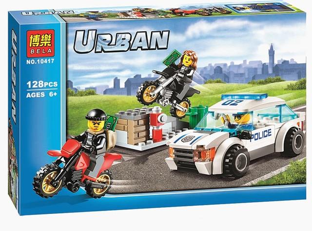 128pcs High Speed Police Chase Set Car Motorbikes Building Bricks ...
