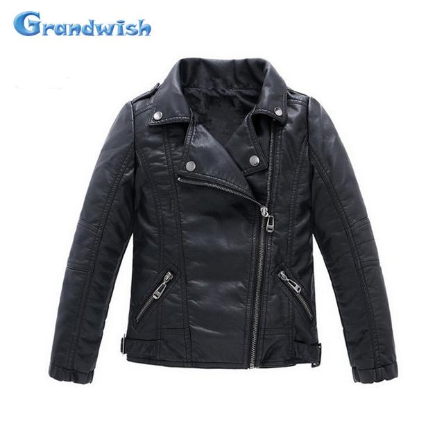 Grandwish new kids casacos crianças meninos e meninas crianças casaco de couro jaqueta de couro pu jaqueta de couro outerwear 3 t-14 t, SC061