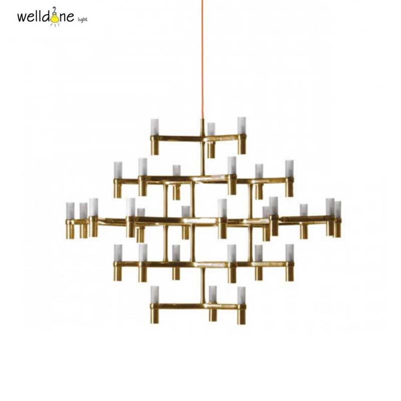 Crown Nemo crown minor chandelier Postmodern Art Lighting for hotel Living room Bedroom Lobby Villa Stairs Droplight Candle nemo crown nordic postmodern lighting black white chrome gold 30 heads 5 layers aluminum candle pendant light