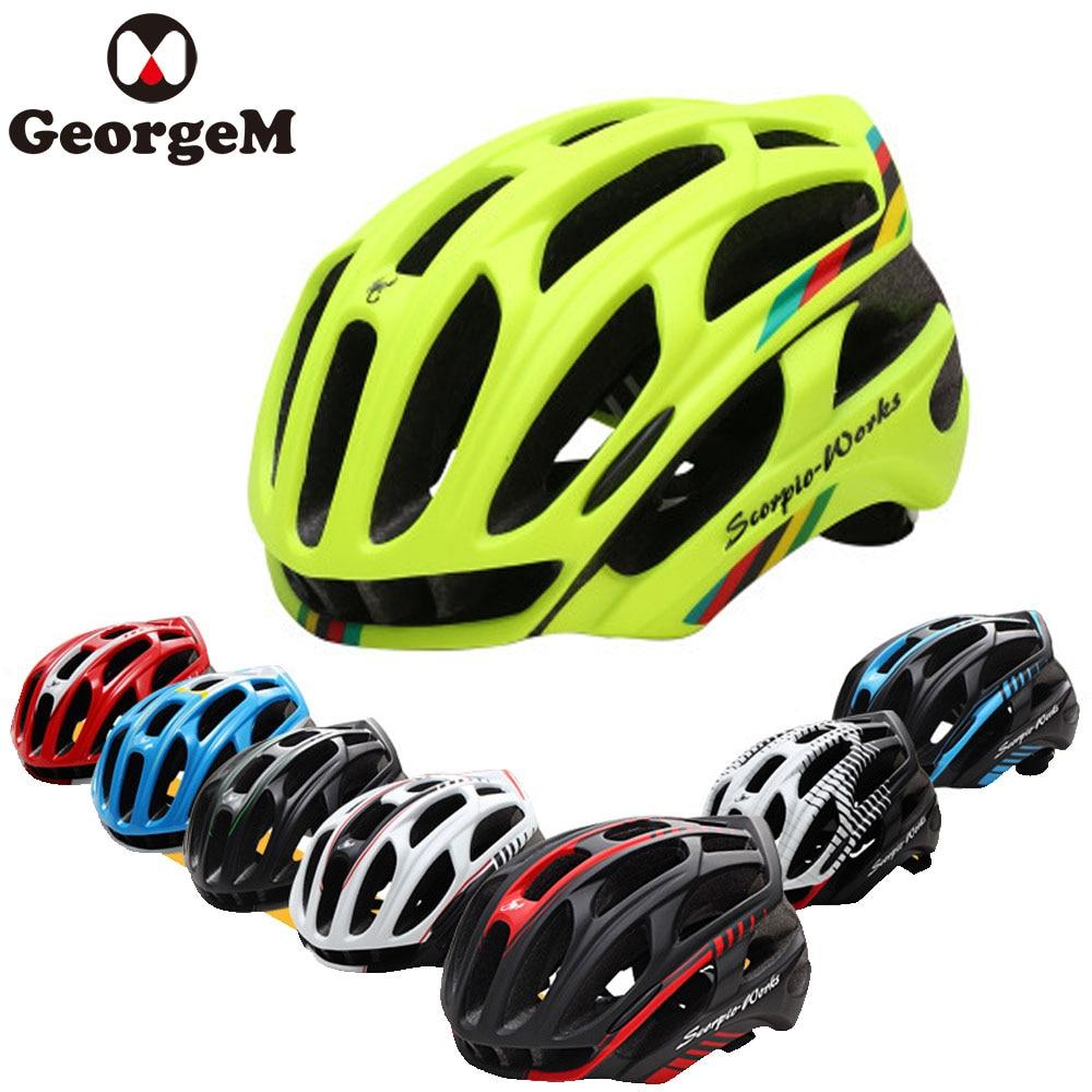GeorgeM Men's Cycling Road Mountain Bike Helmet Capacete Da Bicicleta 260g Rennrad Helm EPS+PVC Cycling Helmet Bike 10 Colors