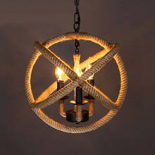 Nordic Hemp Rope Earth Pendant Light Retro Industrial Decorative Hanging Pendant Lamp Bar American Iron Led Restaurant Luminaire nordic retro iron round pendant light loft vintage lamp pendant hand knitted hemp rope light for restaurant bedroom dining room