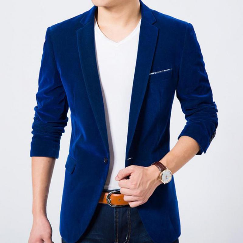 Men's Autumn Spring Mens Blazers Fashion Leisure Stage Suit Jacket For Men Singer Slim Fit Velvet Blazer In Men's Blazers 3XL