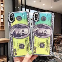 Samtsui Luminous Quicksand Liquid Case For Iphonexs xr xsmax Dollar Pattern Beauty Iphone6s 7 8 Plus Money Casing Capa