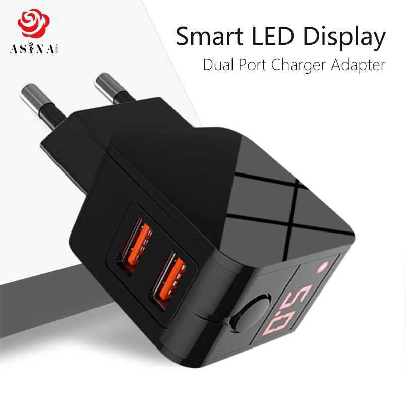 ASINA 5V 2.4A Dual USB Port Charger Adapter Mobile Phone Charger LED Display Fast Charging Travel Adapter For iPhone Samsung