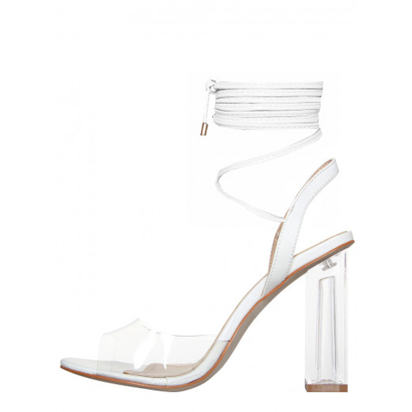 2018 Summer Women Ankle Strap Sandals PVC Transparent Crystal Square Heels  Designer Women Sandals High Heel Shoes Women Rome-in High Heels from Shoes  on ... 1eff9162aded