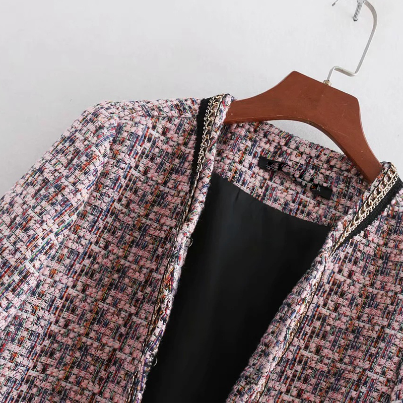 A Imprimé Mujer Femmes Poilu Chaîne Ouvrir Vogue Veste Belle Harajuku Manteau Chaqueta Mince Flore Point wRxB6xUqA