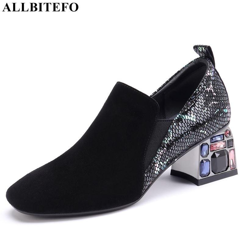 ALLBITEFO Natural Genuine Leather Sheepskin High Heels Women Heels Fashion Ladies Shoes High Heel Shoes Spring Autumn