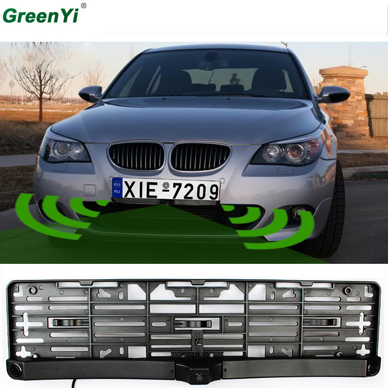 Universal License Plate Frame Auto Front camera Car Rearview Reverse Camera With Two Parking Sensors Reversing
