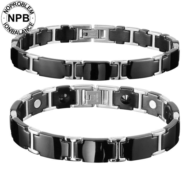 Noproblem santé de thérapie de cou en métal tourmaline germanium bureau mâle et femelle couple antifatigue bracelet