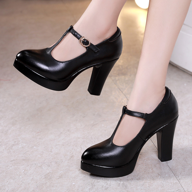 Big Size 33-43 Block Heels T-Strap Shoes Women Pumps 2019 Spring Fall Split Leather Office Shoes Woman Platform Heels Silver