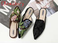 Newest Embroidery Design Woman Slippers Multi Color Pointed Toe Flat Shoes Outfit Velet Mia Floral Mules