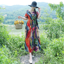 Women Summer Cotton Linen Print Robe Dress Vintage Ethnic Boho Beach Holiday Short Sleeve High Waist Loose Vestidos