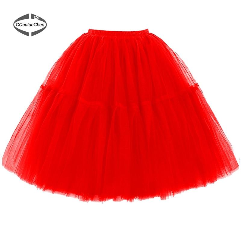 Vintage Ball Gown Bröllop Under Kjol 5 Lager Tutu Tulle Kjol Midi - Damkläder