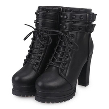 Fashion Martin Boots New Arrival Spring And Autumn Motorcycle Boots women s High Heels Shoes Rivet