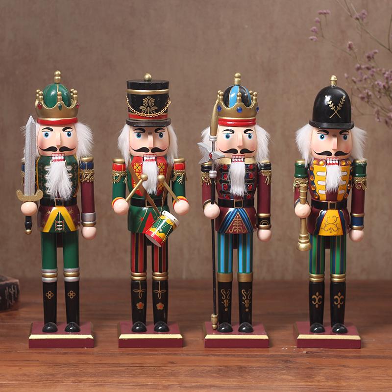 4 pcs/set 30cm Wooden Nutcracker Soldier Vintage Handcraft Puppet Ornaments for Home Decoration Солдат