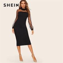 6feaf3647644a SHEIN Siyah Mesh Yoke Fener Kol Yarık Hem Kalem Bodycon Elbise Kadın Bahar  Dantel Standı Yaka Katı Zarif Midi Elbise