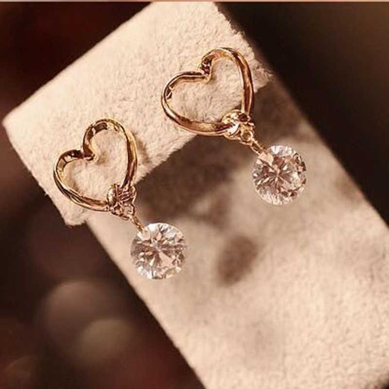 2018 New Nhãn Hiệu Trang Sức Thả Bông Tai Love Cz Pha Lê Mặt Dây Dangling Earrings Đối Với Phụ Nữ Boucle D' Oreille Femme