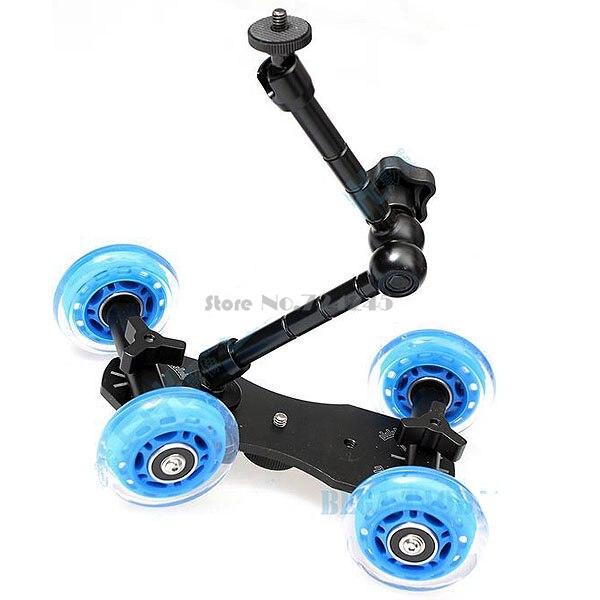 3in1 1 set caméra Rail voiture Table Dolly voiture + téléphone portable monopode trépied + 11 pouces bras magique pour d1000 d3000 d3100 d3200