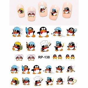 Image 4 - NAIL ART güzellik tırnak STICKER su çıkartması kaymak karikatür noel XMAS kuş sevimli penguen RP133 138