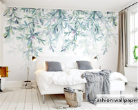 Beibehang Custom New Personality Wallpaper Fresh Green Leaf Watercolor Style Nordic Minimalist Backdrop Papel De Parede
