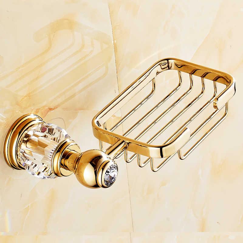 Europäischen Luxus Gold Kristall Messing Bad Zubehör Bad Hardware Set Gold Seifenschale Handtuch Papier Halter senden von Russland