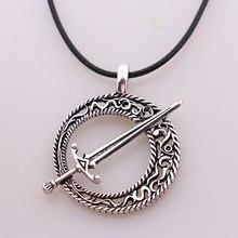 Almas escuras 3 lâmina da lua escura pingente aliança almas escuras 3 espada pingente colar de couro corda jogo steampunk jóias