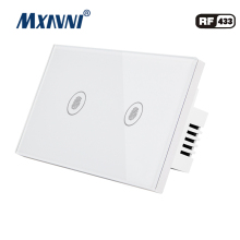 MXAVNI US Standard Remote Control Switch 2 Gang 1 Way ,RF433 Smart Wall Switch, Wireless remote control touch light switc us standard sesoo remote control switch 2 gang 1 way rf433 smart wall switch wireless remote control touch light switch