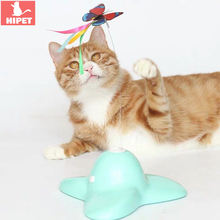 HIPET Electric Cat Toys Automatic Rotating Colorful Butterfly Interactive Exercise Training Educational Toy Pet Cats Teaser