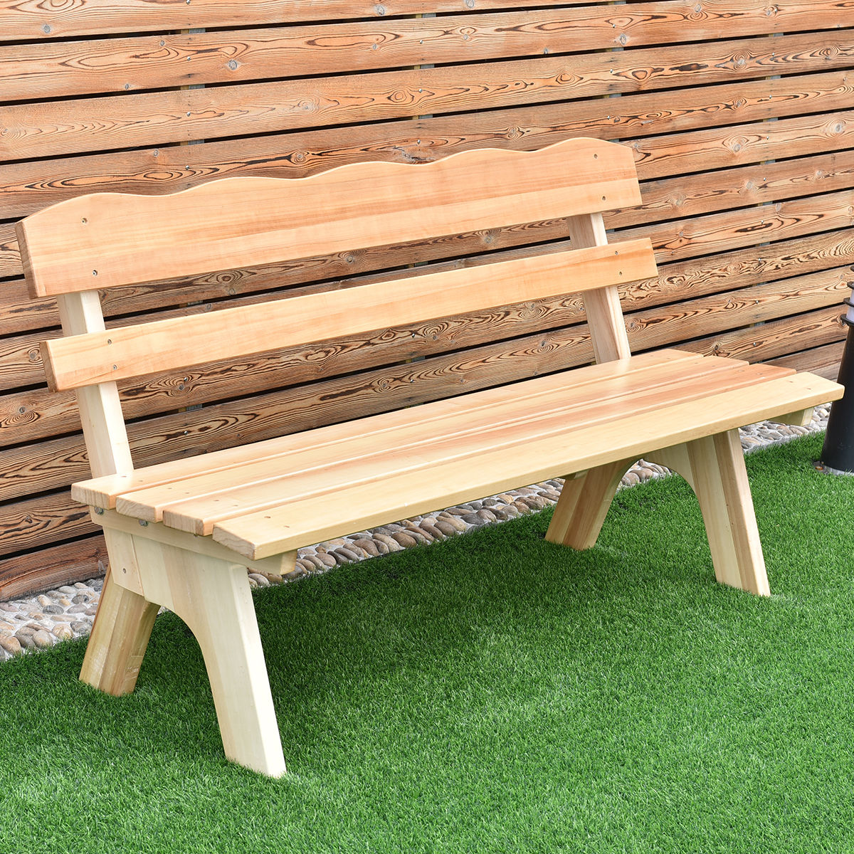 Giantex 5 Ft 3 Seats Outdoor Wooden Garden Bench Chair