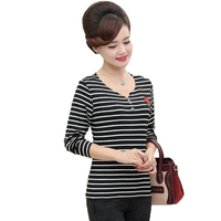 WAEOLSA Middle Aged Woman Casual Tops Autumn Womens Striped Cotton Blouses White Black Navy Blue Tops