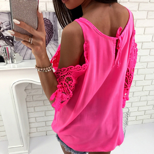 f0688ff0bf8 FUNOC Top Women Lace T Shirt Short Sleeve Cold Shoulder Tops Autumn Loose  Tees Sexy Ladies Round Neck Cut Out T-shirt Female
