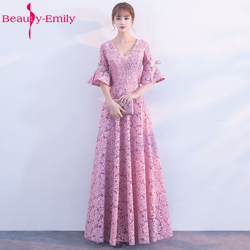 Beauty-Emily Robe De Soiree V-Neck Pink Long Lace   Bridesmaid     Dress   2017 Elengant Formal   Dresses   Custom Made Plus Size