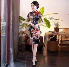 Womens Korte Cheongsam Mode Chinese stijl Dame Mandarijn Kraag Rayon Mini Qipao Sexy Slim Party Jurk Vestido S-6XL(China)