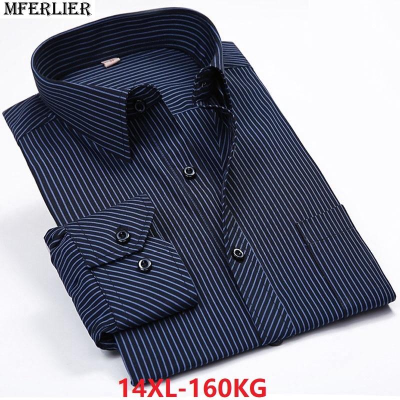 2895e057c9e MFERLIER autumn summer men plus size big shirt striped Dot 8XL 9XL 10XL  12XL 14XL Dress shirt Business Long sleeve cotton work
