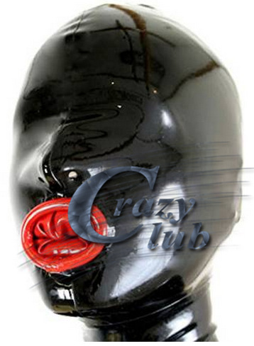 Crazy club_ Latex Rubber Hood with Inner Condom Latex Mask fetish Adult unisex Sexy Hoods Red Crimping Mouth Free Shipping Sale latex mask with tube rubber party mask full cover attached funnel plus size hot sale adult products sexy life
