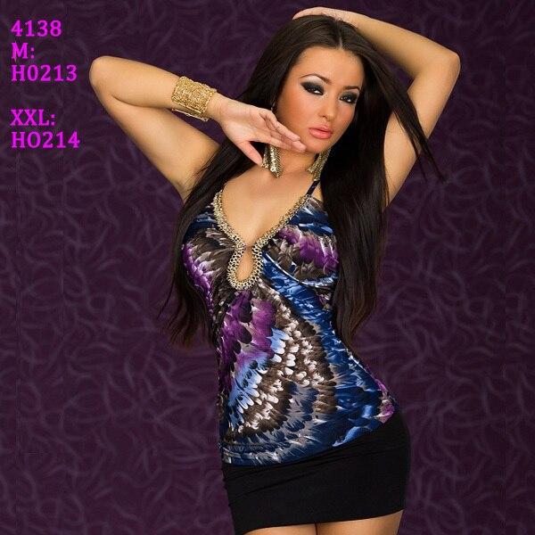 M XXL Plus Size Freeshipping 2013 New Fashion Women Sexy Spaghetti Strap Feather Printed Slim Club Party Mini Dress 4138
