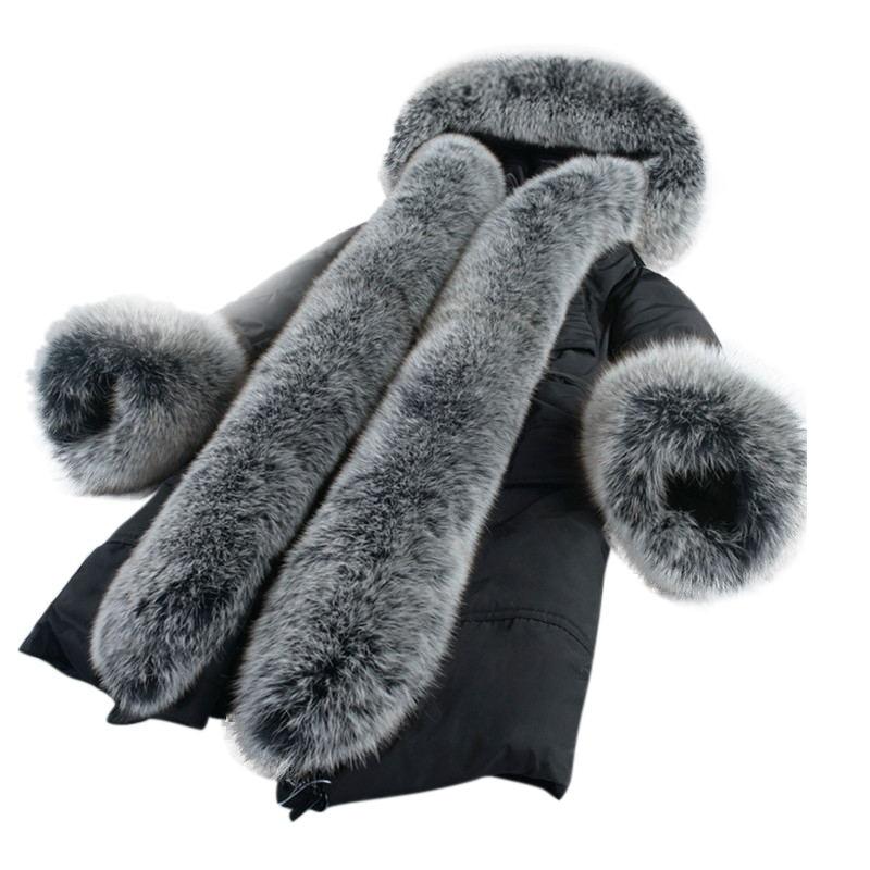 Très Nouveau Vison D'hiver Femmes Réel Européen Fox Survêtement Chaud Manteau Noir Fourrure Style Col army Femelle Green De R7zwRWrqH