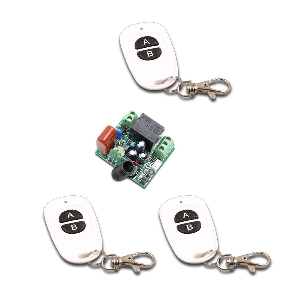 AB Key Mini Size 220V 1CH 1CH 10A Wireless Remote Control Switch Relay Receiver+3X Waterproof Transmitter 315/433.92 MHZ Toggle 315 433mhz 12v 2ch remote control light on off switch 3transmitter 1receiver momentary toggle latched with relay indicator