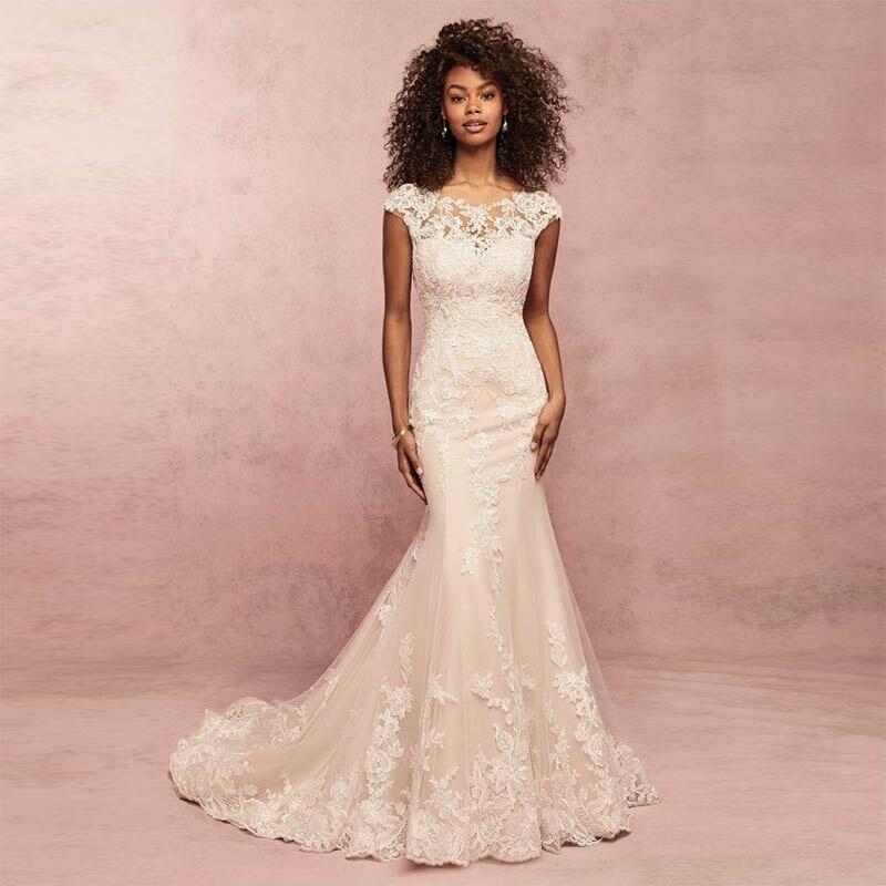 Verngo Romantic Mermaid Wedding Dress Boho Wedding Dress Delicate Lace Appliqued Backless Bride Dress Vestidos De Novia 2019 in Wedding Dresses from Weddings Events