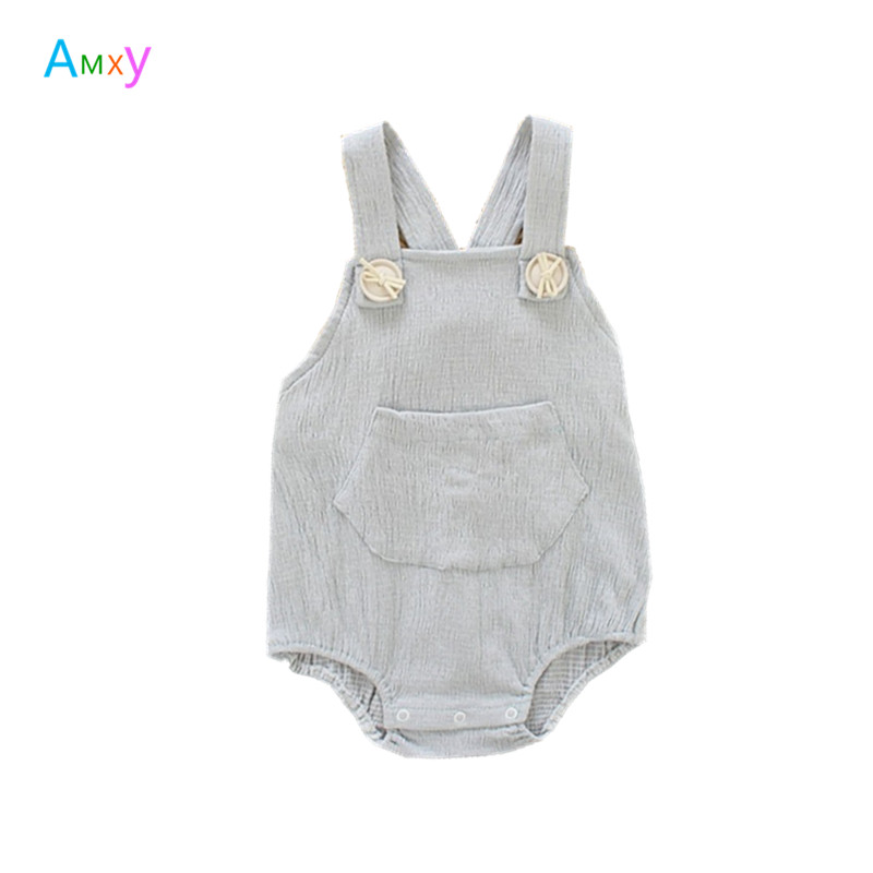 AIMEIXIUYI Newborn Baby   Rompers   Boys Girls Elastic Cotton Grey Jumpsuit Overalls Summer Kids Clothing Infant Outfits 0-3T