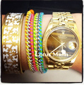Watch accessories no.1 single-circle steeliest chain leather cord bracelet multicolour